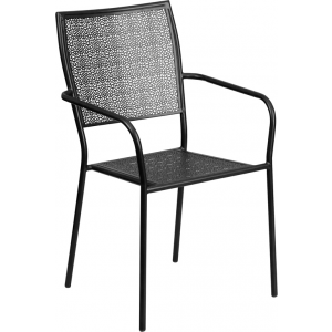 Wholesale Black Indoor-Outdoor Steel Patio Arm Chair with Square Back