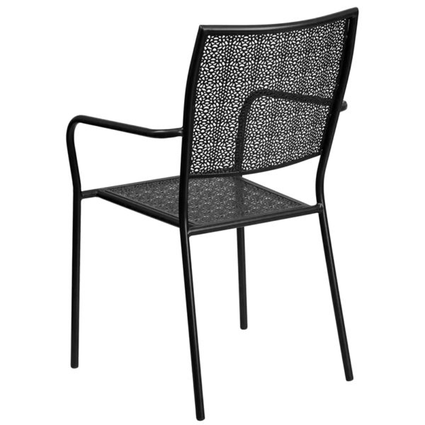 Outdoor Patio Chair Black Square Back Patio Chair