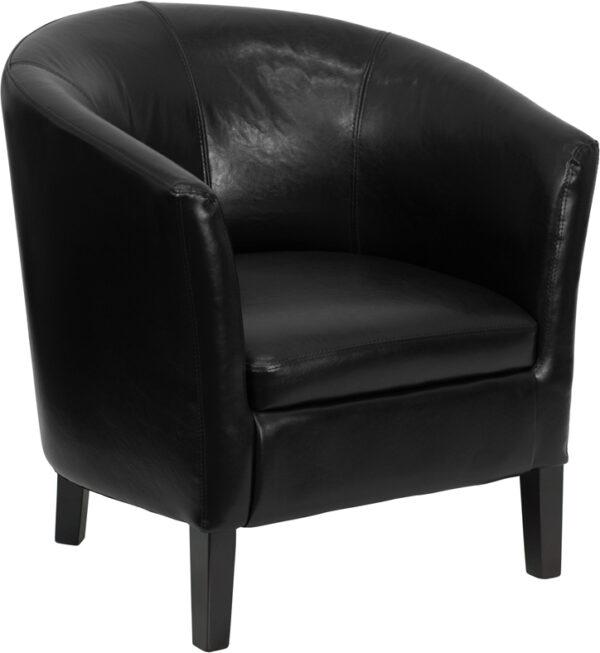 Wholesale Black Leather Barrel Shaped Guest Chair