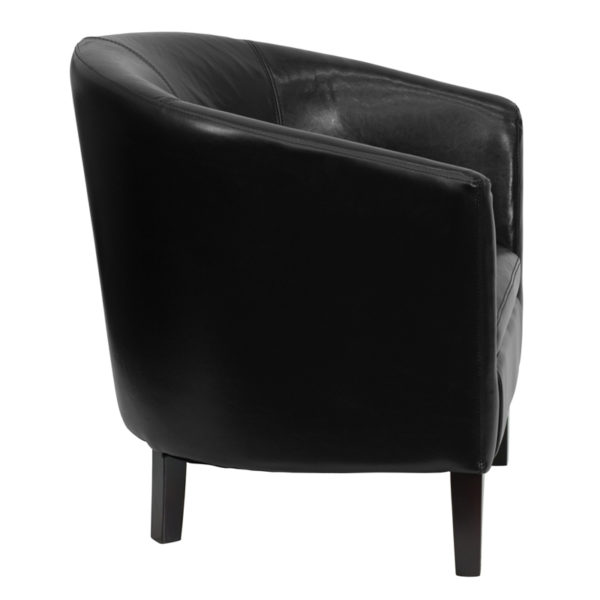 Lowest Price Black Leather Barrel Shaped Guest Chair