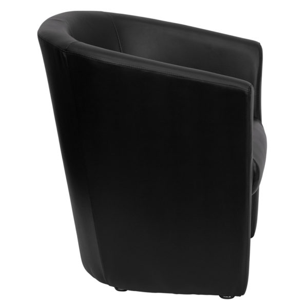 Lowest Price Black Leather Barrel-Shaped Guest Chair