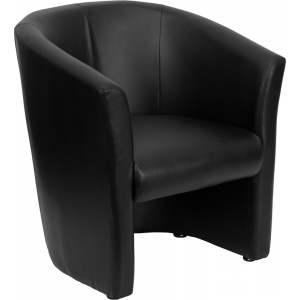 Wholesale Black Leather Barrel-Shaped Guest Chair