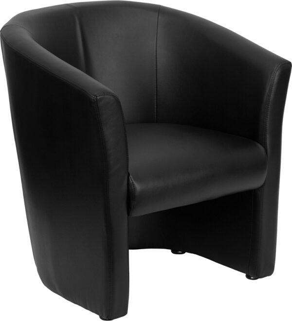 Wholesale Black Leather Barrel-Shaped Guest Chair