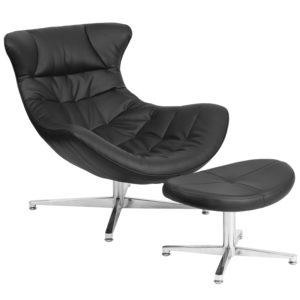 Wholesale Black Leather Cocoon Chair with Ottoman