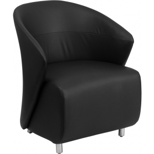 Wholesale Black Leather Curved Barrel Back Lounge Chair