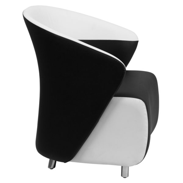 Lowest Price Black Leather Curved Barrel Back Lounge Chair with Melrose White Detailing