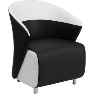 Wholesale Black Leather Curved Barrel Back Lounge Chair with Melrose White Detailing
