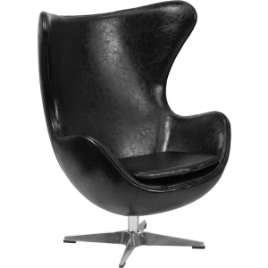 Wholesale Black Leather Egg Chair with Tilt-Lock Mechanism