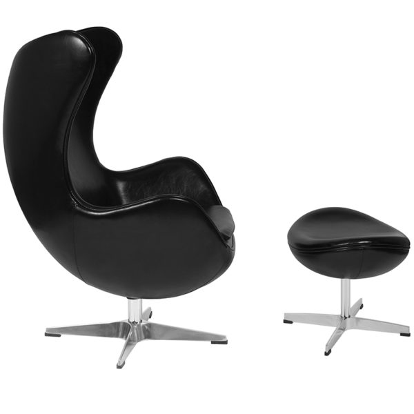 Lowest Price Black Leather Egg Chair with Tilt-Lock Mechanism and Ottoman
