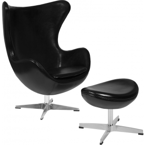 Wholesale Black Leather Egg Chair with Tilt-Lock Mechanism and Ottoman