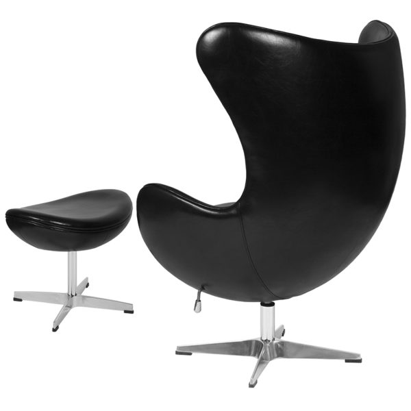 Chair and Ottoman Set Black Leather Egg Chair/OTT