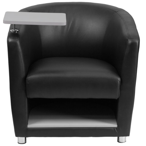 Contemporary Style Black Leather Tablet Chair