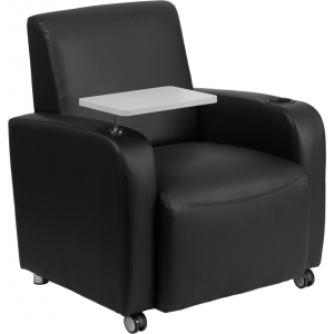 Wholesale Black Leather Guest Chair with Tablet Arm