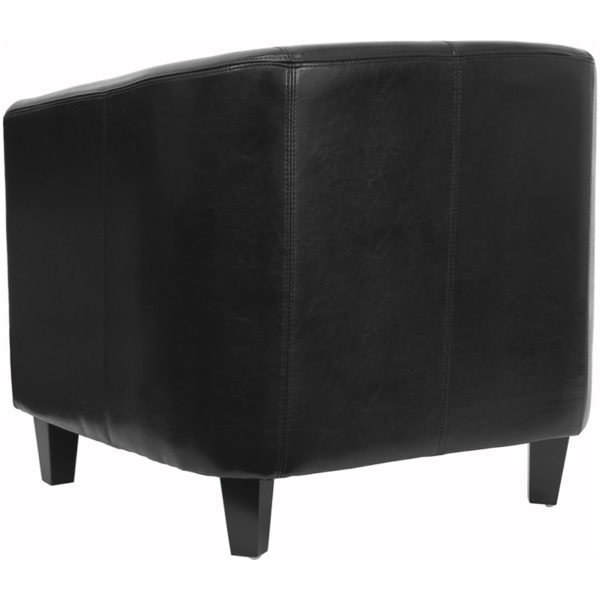 Transitional Style Black Leather Guest Chair