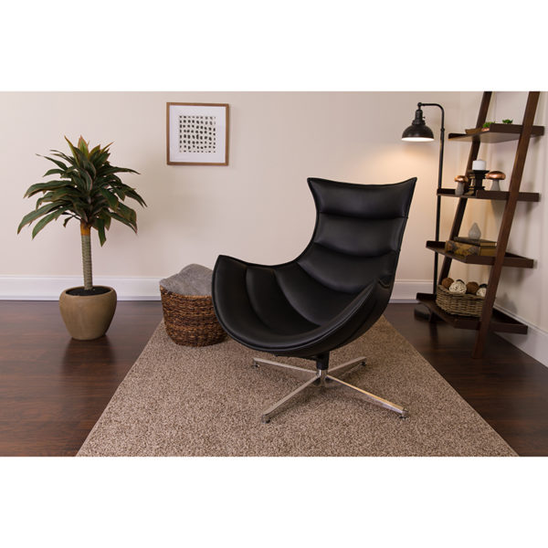 Lowest Price Black Leather Swivel Cocoon Chair