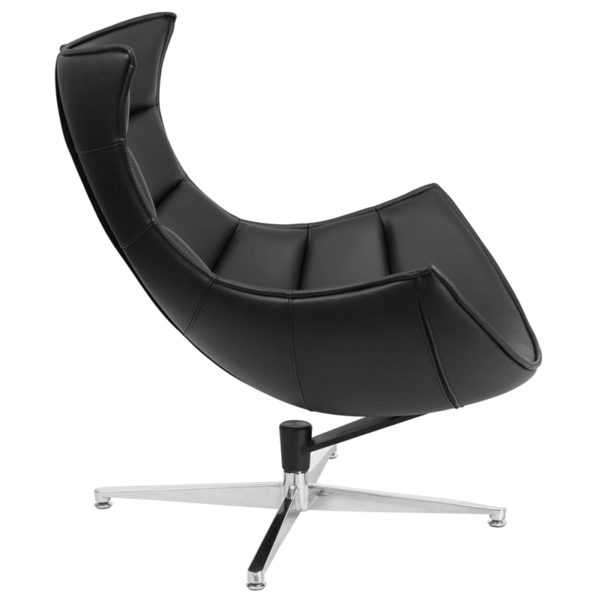 Lounge Chair Black Leather Cocoon Chair