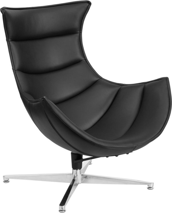 Wholesale Black Leather Swivel Cocoon Chair