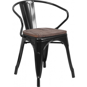Wholesale Black Metal Chair with Wood Seat and Arms