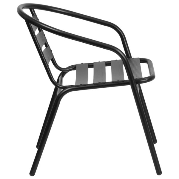 Lowest Price Black Metal Restaurant Stack Chair with Aluminum Slats