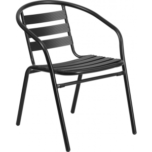 Wholesale Black Metal Restaurant Stack Chair with Aluminum Slats