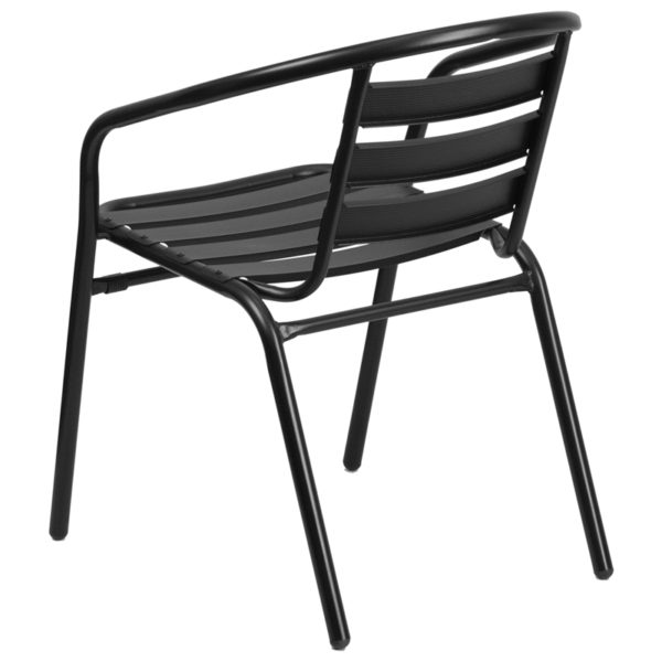 Stackable Cafe Chair Black Aluminum Slat Chair