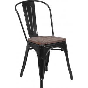 Wholesale Black Metal Stackable Chair with Wood Seat