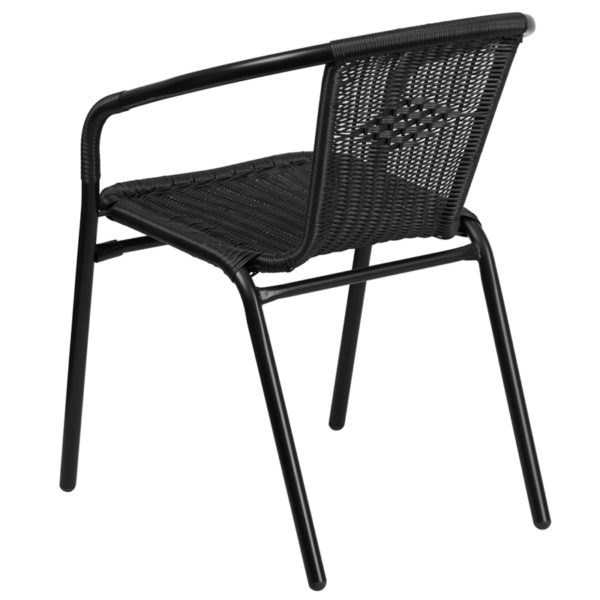 Stackable Cafe Chair Black Rattan Stack Chair