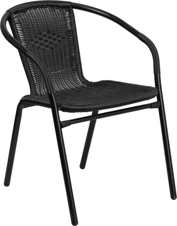 Wholesale Black Rattan Indoor-Outdoor Restaurant Stack Chair