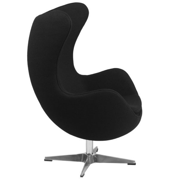 Lowest Price Black Wool Fabric Egg Chair with Tilt-Lock Mechanism