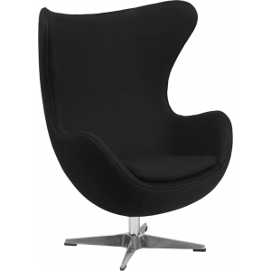 Wholesale Black Wool Fabric Egg Chair with Tilt-Lock Mechanism