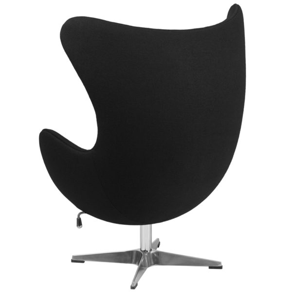 Lounge Chair Black Wool Fabric Egg Chair