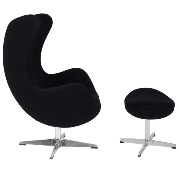 Lowest Price Black Wool Fabric Egg Chair with Tilt-Lock Mechanism and Ottoman
