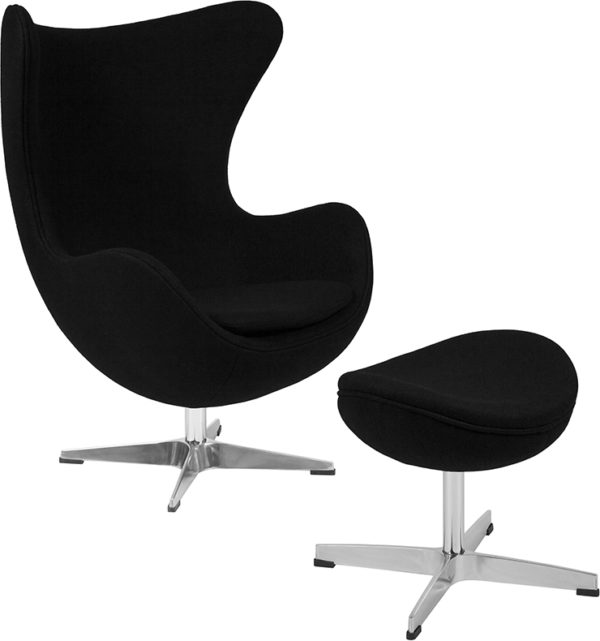 Wholesale Black Wool Fabric Egg Chair with Tilt-Lock Mechanism and Ottoman