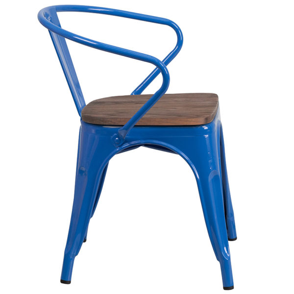 Lowest Price Blue Metal Chair with Wood Seat and Arms