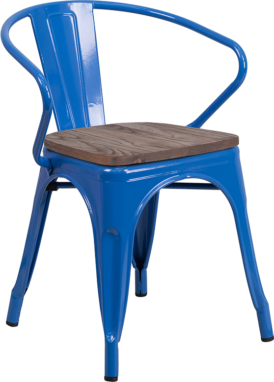 Wholesale Blue Metal Chair with Wood Seat and Arms