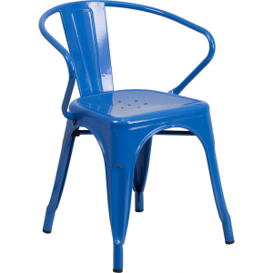 Wholesale Blue Metal Indoor-Outdoor Chair with Arms