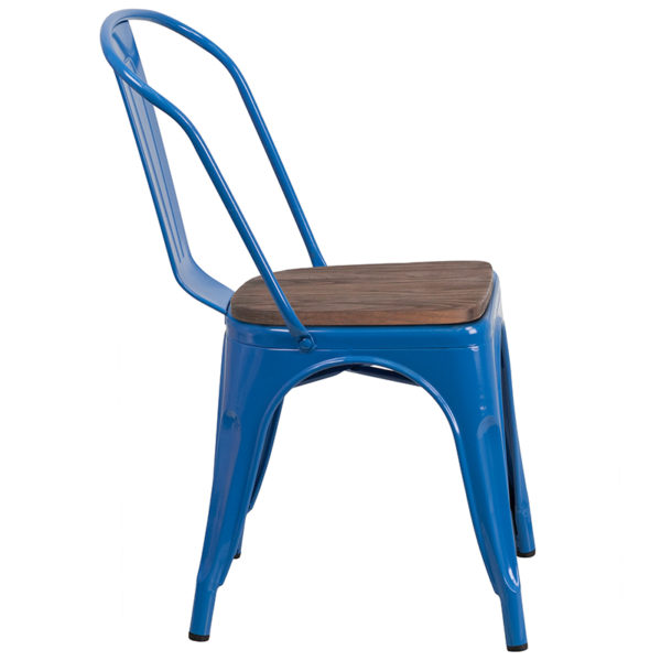 Lowest Price Blue Metal Stackable Chair with Wood Seat