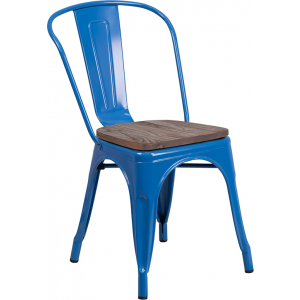 Wholesale Blue Metal Stackable Chair with Wood Seat