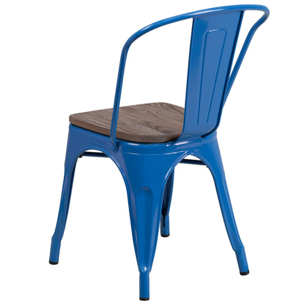 Stackable Bistro Style Chair Blue Metal Stack Chair