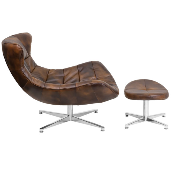 Chair and Ottoman Set Brown Leather Cocoon Chair