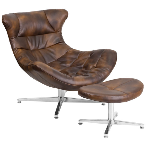 Wholesale Bomber Jacket Leather Cocoon Chair with Ottoman