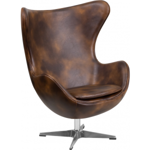 Wholesale Bomber Jacket Leather Egg Chair with Tilt-Lock Mechanism