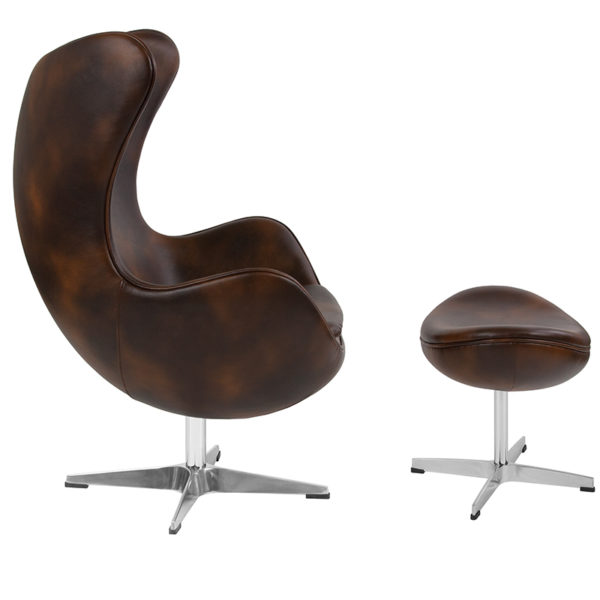 Lowest Price Bomber Jacket Leather Egg Chair with Tilt-Lock Mechanism and Ottoman