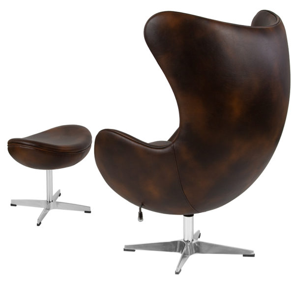 Chair and Ottoman Set Bomber Leather Egg Chair/OTT