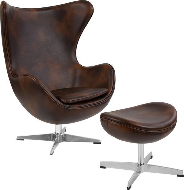Wholesale Bomber Jacket Leather Egg Chair with Tilt-Lock Mechanism and Ottoman