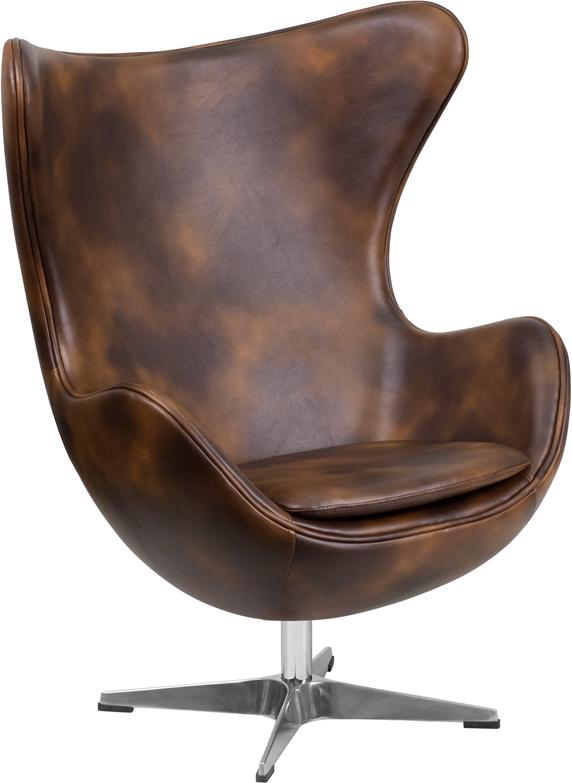 Wholesale Bomber Jacket Leather Egg Chair with Tilt-Lock Mechanism