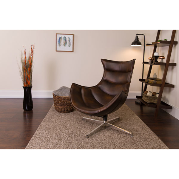 Lowest Price Bomber Jacket Leather Swivel Cocoon Chair