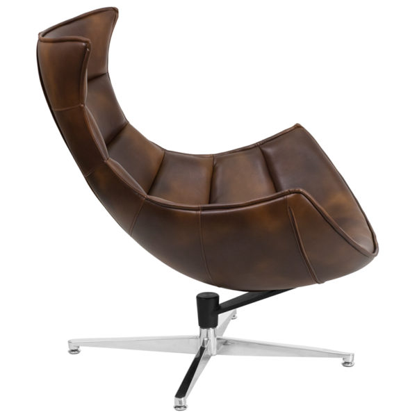 Lounge Chair Brown Leather Cocoon Chair