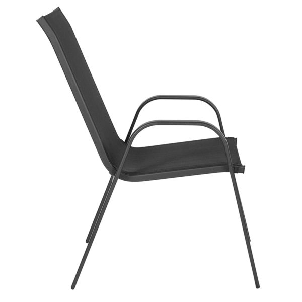 Lowest Price Brazos Series Black Outdoor Stack Chair with Flex Comfort Material and Metal Frame
