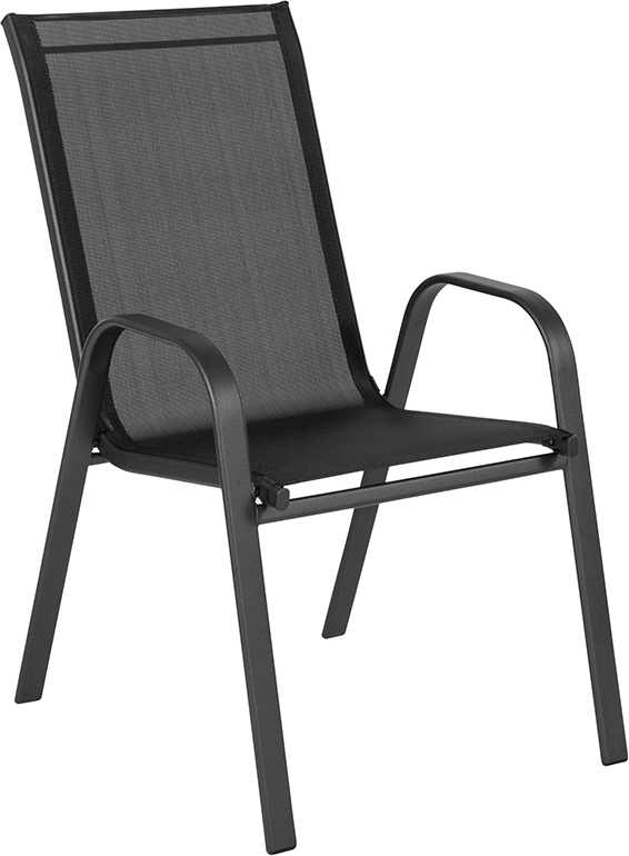 Wholesale Brazos Series Black Outdoor Stack Chair with Flex Comfort Material and Metal Frame